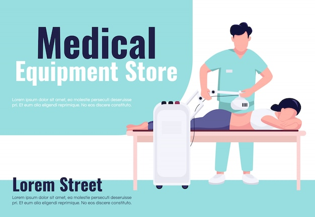 Medical equipment store banner flat template. brochure, poster concept design with cartoon characters. spinal trauma treatment and rehabilitation horizontal flyer, leaflet with place for text
