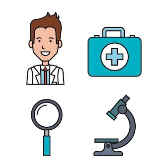 Медицинское оборудование снабжает набор значков здравоохранения