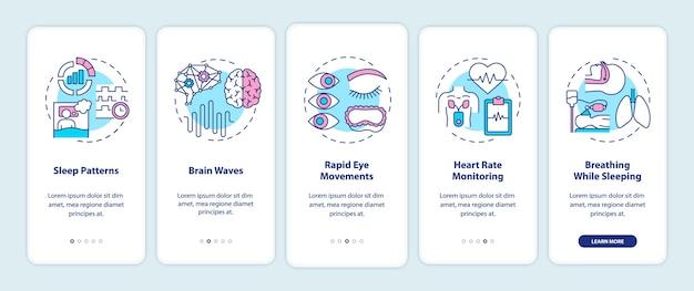 コンセプトを備えたモバイルアプリページ画面のオンボーディング睡眠パターンの健康診断