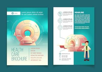 健康診断パンフレット、断層撮影のための漫画MRIスキャナーによる健康管理コンセプト