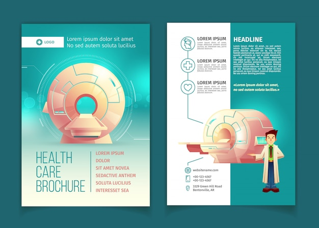 Medical examination brochure, health care concept with cartoon mri scanner for tomography