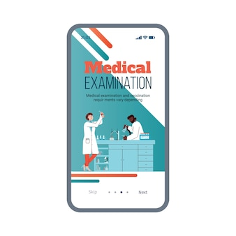 Medical examination mobile onboarding page template flat vector illustration