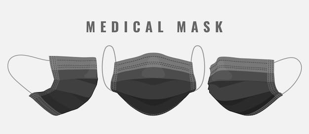 医療用フェイスマスク。漫画のかまちの黒い医療マスク。
