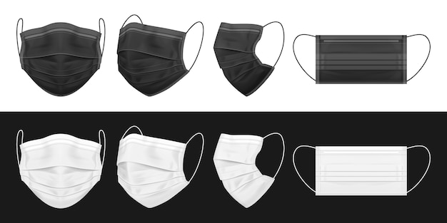 Medical face mask, black and white