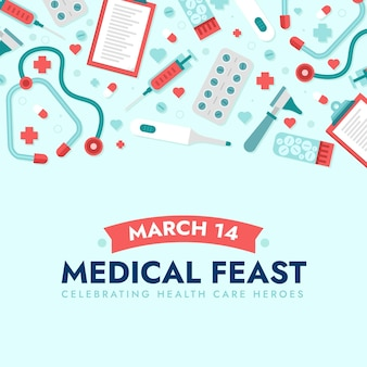 Medical feast illustration with thermometer and stethoscope