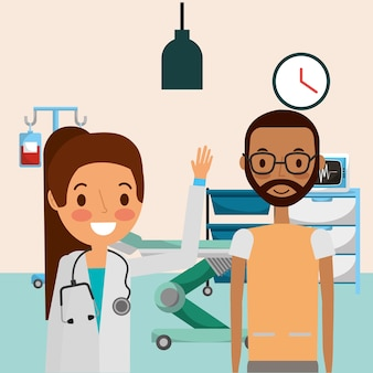 Medical female doctor and african american man patient