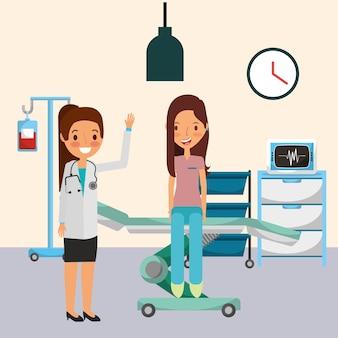 ストレッチャーに座っている患者と医療女性