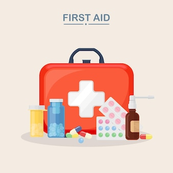 Medical first aid kit with pill bottle, capsules, blister of painkiller. healthcare