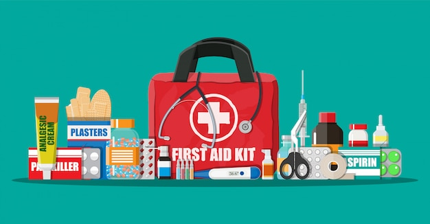 Medical first aid kit with pills and devices
