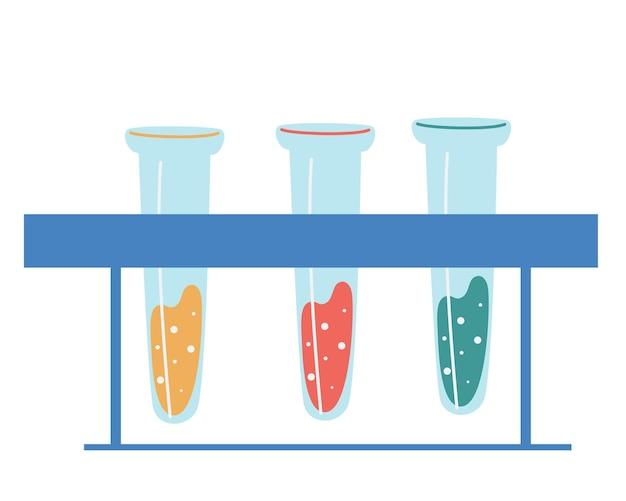 의료용 플라스크. 플라스크 비커 및 시험관. 화학 실험실 장비.