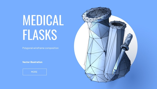 Medical flasks low poly