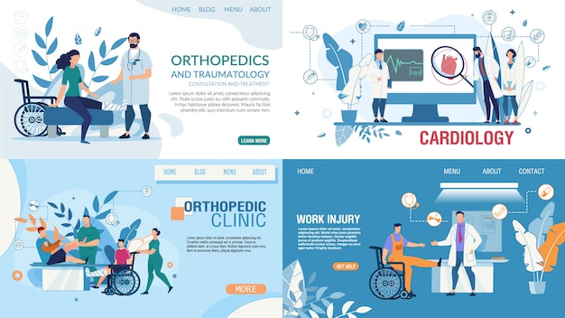 Medical flat landing page design templates set