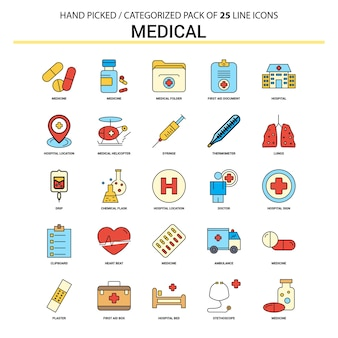 Medical flat line icon set