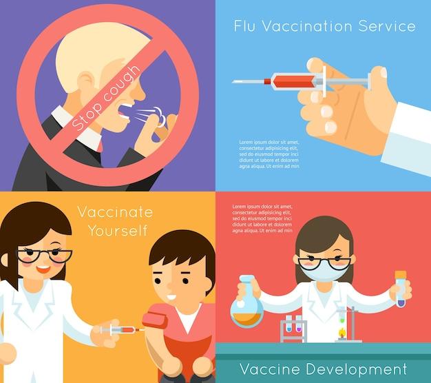 Фон концепции вакцинации от гриппа. вакцина против вируса, шприц и уход, векторные иллюстрации