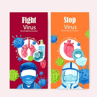 Medical flyer design with doctor, mask, lungs, creative bright watercolor illustration.