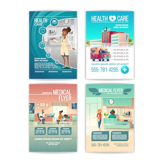 Medical flyers set. health care service posters