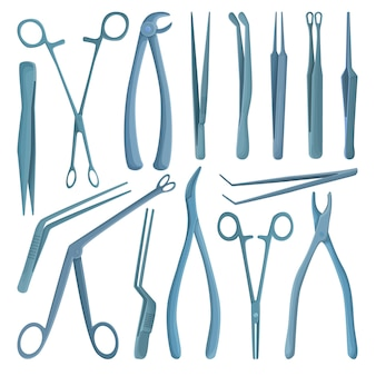 Medical forceps  cartoon set icon.  illustration surgical tool on white background.  cartoon set icon medical forceps.