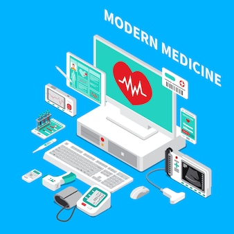 Medical gadgets isometric composition