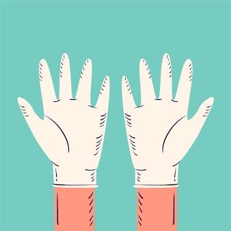 医療用手袋手描きデザイン