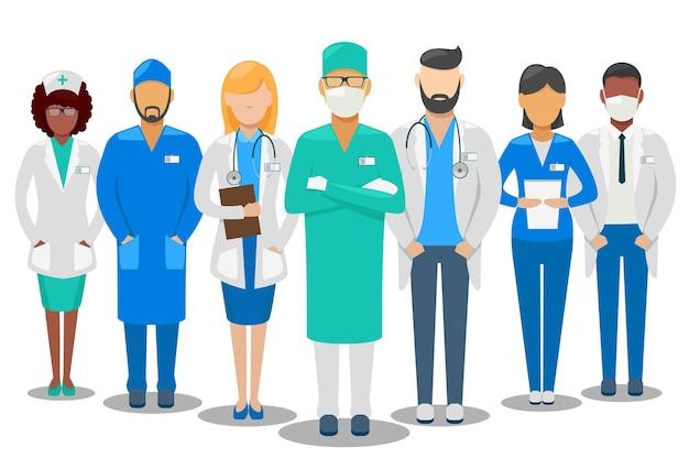 의료 좋은 팀. 병원 직원 의사와 간호사. 삽화