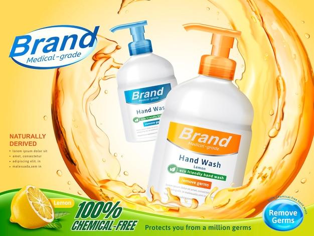 의료용 핸드 워시 광고, 3d 일러스트, 레몬 향수의 디스펜서 병 주위에 튀는 맑은 액체 흐르는