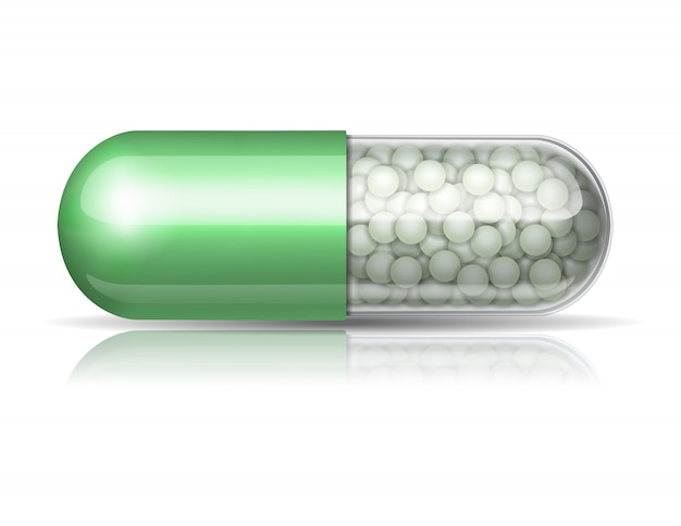 Medical green capsule with granules on white background.  illustration