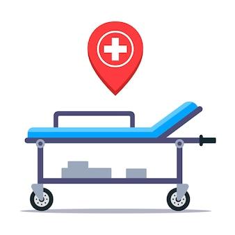 患者を輸送するための病院の医療用担架。平らな