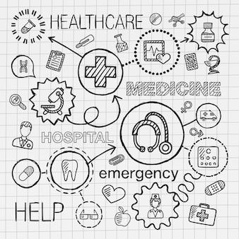의료 손 통합 아이콘 세트를 그립니다. 종이에 선 연결 낙서 해치 무늬와 infographic 그림을 스케치합니다. 건강 관리, 의사, 의학, 과학, 응급, 약국 개념