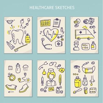 의료 손 그리기 스케치