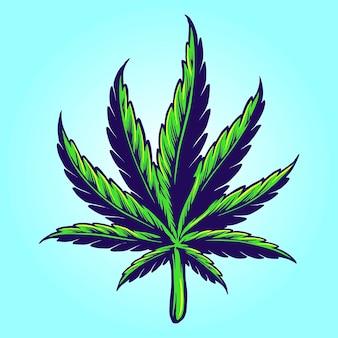 귀하의 작업 로고, 마스코트 상품 티셔츠, 스티커 및 라벨 디자인, 포스터, 인사말 카드 광고 비즈니스 회사 또는 브랜드에 대한 의료 손으로 그린 대마초 잎 벡터 그림.