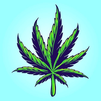 Medical hand drawn cannabis leaf vector illustrations for your work logo, mascot merchandise t-shirt, stickers and label designs, poster, greeting cards advertising business company or brands.