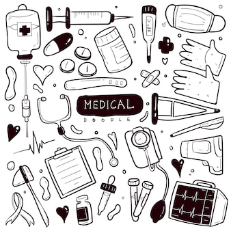 Medical hand drawn doodle collection set