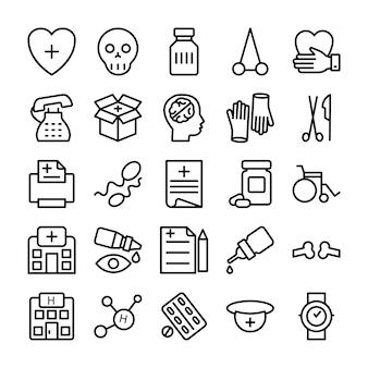 의료, 건강 및 병원 선 아이콘 0