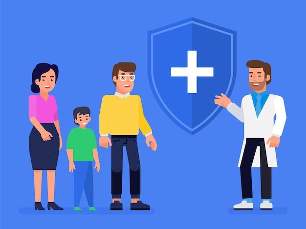 의료, 건강 및 생명 보험 개념. 보호 방패와 자녀와 함께 웃는 가족 보험 에이전트. 평면 그림.