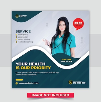 의료 건강 배너 소셜 미디어 게시물 디자인