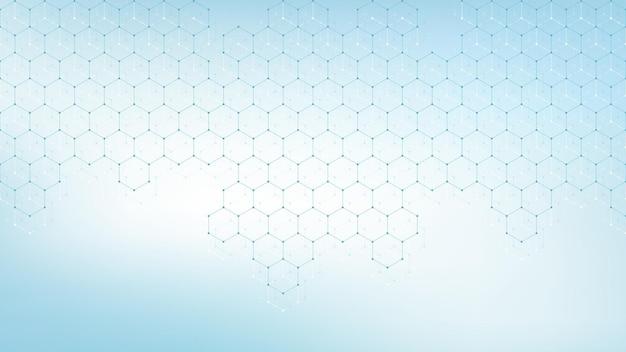 의료 의료 배너 템플릿 디자인입니다. 녹색 육각형 배경입니다. 분자 구조, 혁신 패턴, 유전 연구. 의료 개념입니다. 과학적인 벡터 일러스트 레이 션.