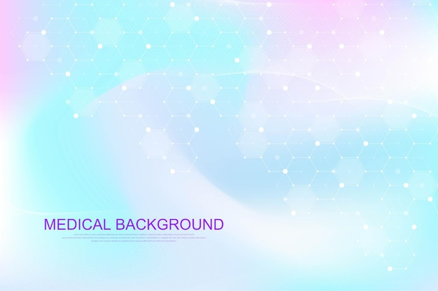 Medical health care banner template design. background with hexagons. molecular structures, innovation pattern, genetic research. medical concept. scientific vector illustration.