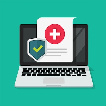 ラップトップコンピューターでオンラインの医療ヘルスケアデジタル保険フォーム保護