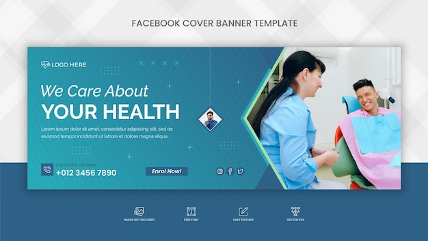 Medical health care facebook cover banner