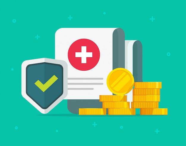 Медицинская медицинская страховка, форма страхования жизни или медицинская страховка, документ, подтверждающий претензию на страховое покрытие страховки и денег, плоский мультфильм