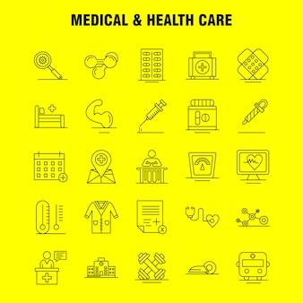 Medical and health care line icon set