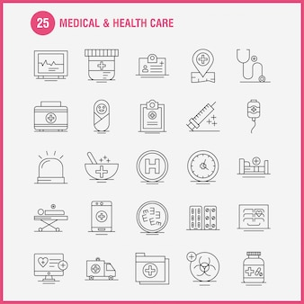 Medical and health care line icon