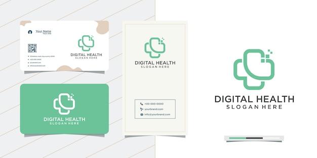 의료 건강 디지털 로고 디자인 및 명함