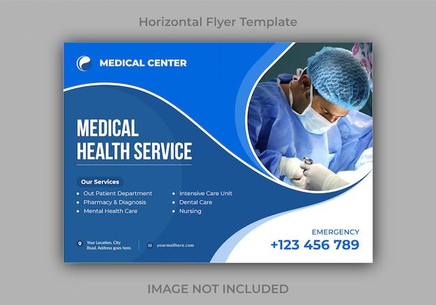 Medical health horizontal flyer design template