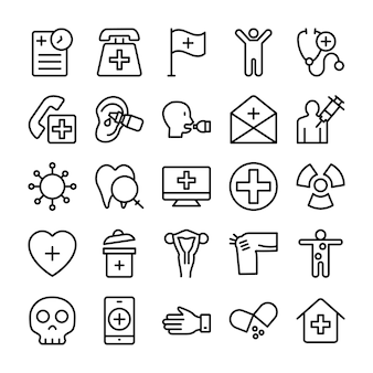 Medical, health and hospital line icons