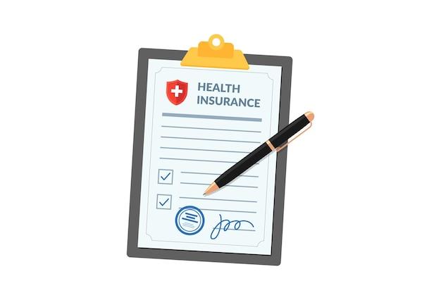 흰색 배경 병원에 고립 된 펜으로 클립보드에 의료 건강 보험 정책