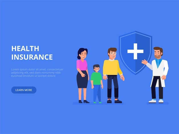 Medical, health and life insurance concept. insurance agent with protective shield and smiling family with child. flat  illustration.