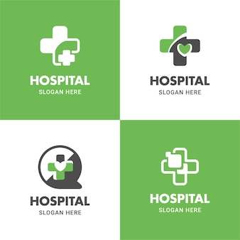 Medical and health logo flat icon vector design illustration template set in the cross shape