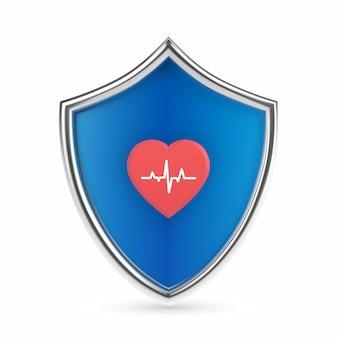 Медицинский щит охраны здоровья со значком сердца с линией сердцебиения. медицина здравоохранения защищала концепцию щита охранника. услуги по страхованию здоровья, медицинскому страхованию и страхованию жизни. реалистичные векторные иллюстрации.