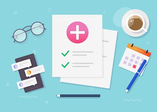 Медицинская медицинская справка о состоянии здоровья пациента или документ о проверке страхового списка лежит иллюстрация